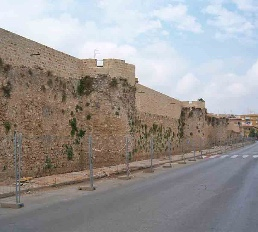 The wall of the castle in Denia